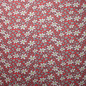 White and Yellow Daisies on Neon Red Stretch Jersey Knit