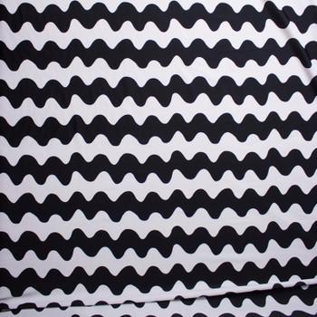 Black and White Squiggle Stripes Nylon/Lycra