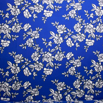 Black and White Sketchbook Floral on Royal Blue Double Brushed Poly
