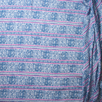 Pink and Blue Pattern Stripe on White Rayon Challis Print