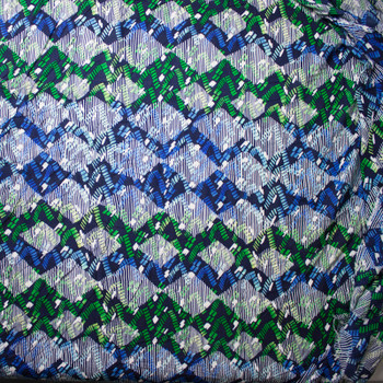 Lime, Blue, Navy, and White Island Geometric Rayon Challis Print