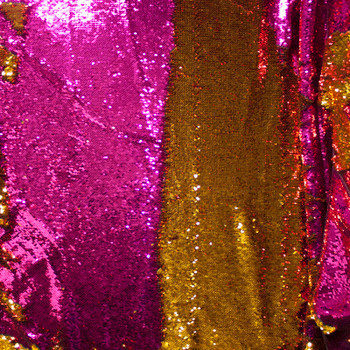 Gold and Hot Pink Reversible Two Tone Sequin Fabric