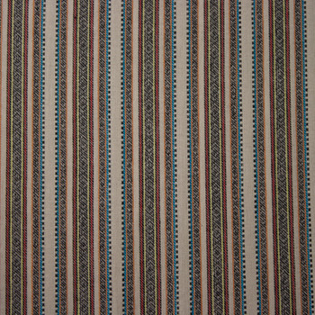 Tan, Brown, Red, and Blue Pattern Stripe Rayon Suiting