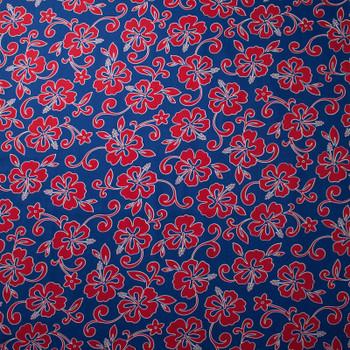 Blue and Red Hawaiian Print Cotton by Robert Kaufman