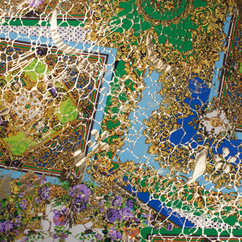 Gold, Sky Blue, Green, and Purple Fancy Tiled Stretch Metallic ITY Fabric By The Yard - Wide shot