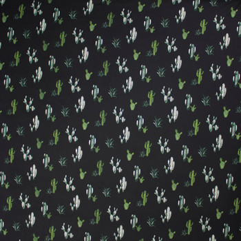 Green Cactus on Black Double Brushed Poly Spandex Fabric By The Yard - Wide shot
