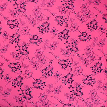 Navy Tropical Flowers on Neon Pink Lightweight Nylon/Lycra Fabric By The Yard - Wide shot