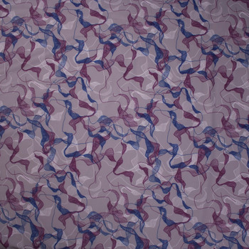 Plum and Navy on Grey Abstract Print Nylon/Lycra Fabric By The Yard - Wide shot