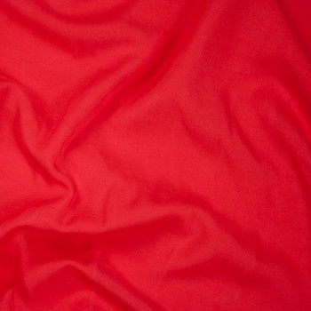 Bright Red Rayon Challis Fabric By The Yard - Wide shot