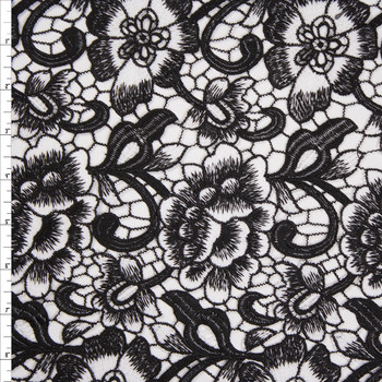 Black and White Flowers and Scrollwork Designer Lace