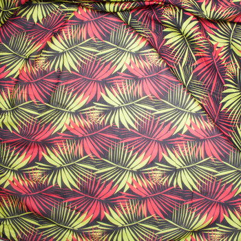 Red and Lime Palms on Brown Lightweight Cotton Voile from 'Milly' Fabric By The Yard - Wide shot