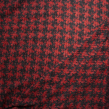 Red and Black Houndstooth Heavy Wool Sweater Knit Fabric By The Yard - Wide shot