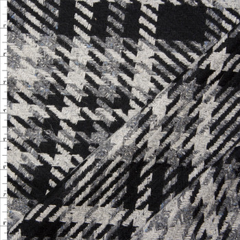 Black, Charcoal, and Grey Plaid Wool Coating Fabric By The Yard