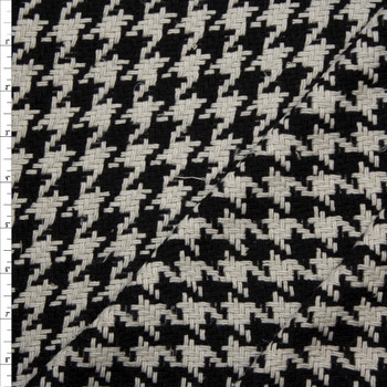 Grey Houndstooth Wool Coating Fabric By The Yard