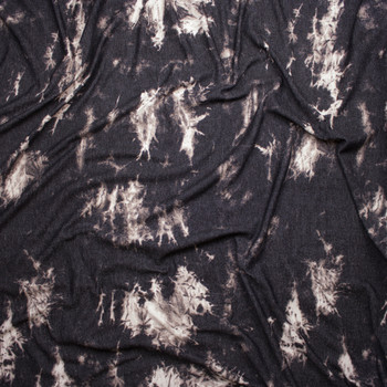 Grey and Black Tie Dye Stretch Lightweight French Terry Fabric By The Yard - Wide shot