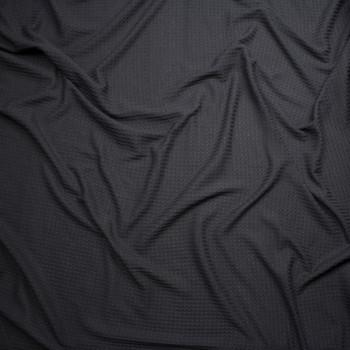 Black Soft Waffle Sweater Knit Fabric By The Yard - Wide shot