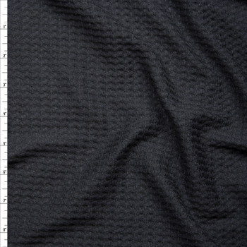 Black Brushed Soft Waffle Sweater Knit Fabric By The Yard