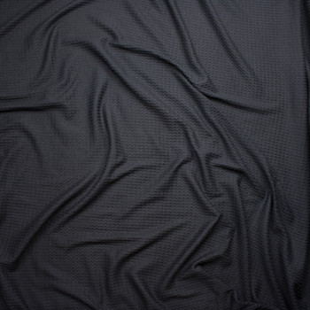 Black Brushed Soft Waffle Sweater Knit Fabric By The Yard - Wide shot