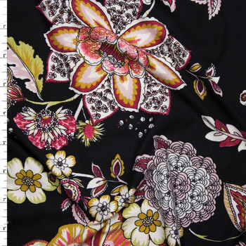 Colorful Ornate Floral on Black Double Brushed Poly Spandex Fabric By The Yard