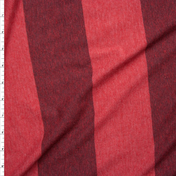 Brick Red Wide Stripe Lightweight Jersey Knit Fabric By The Yard