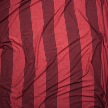 Brick Red Wide Stripe Lightweight Jersey Knit Fabric By The Yard - Wide shot