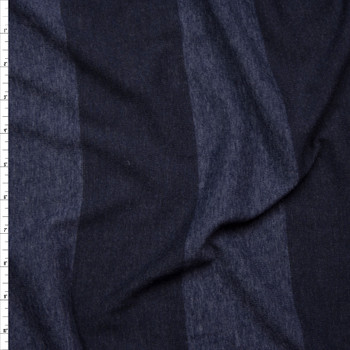 Navy Blue Wide Stripe Lightweight Jersey Knit Fabric By The Yard