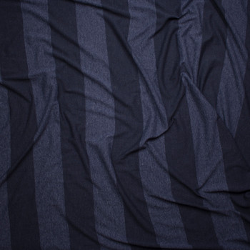 Navy Blue Wide Stripe Lightweight Jersey Knit Fabric By The Yard - Wide shot