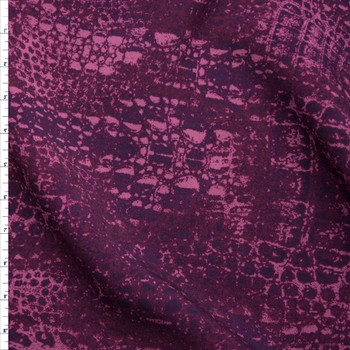 Dark Plum Reptile Print Scuba Knit Fabric By The Yard