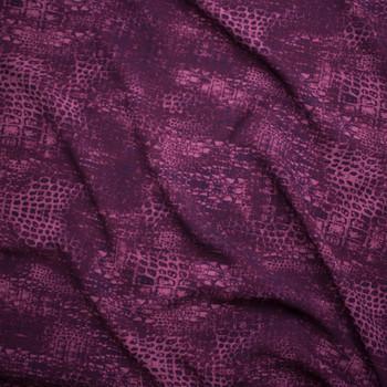Dark Plum Reptile Print Scuba Knit Fabric By The Yard - Wide shot