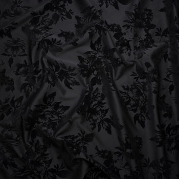 25559b73590 ... Black Flocked Roses on Black Scuba Knit Fabric By The Yard - Wide shot