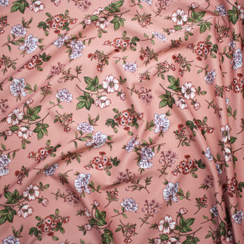 White, Pink, and Sage Flowers on Soft Coral Scuba Knit Fabric By The Yard - Wide shot