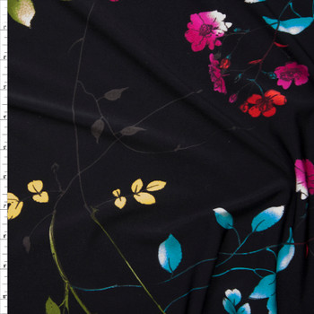 Hot Pink, Lime, and Red Flowers and Branches on Black Lightweight Poly Knit Fabric By The Yard