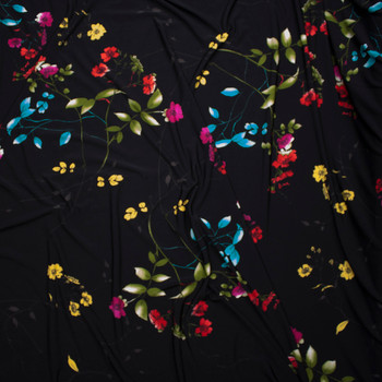 Hot Pink, Lime, and Red Flowers and Branches on Black Lightweight Poly Knit Fabric By The Yard - Wide shot
