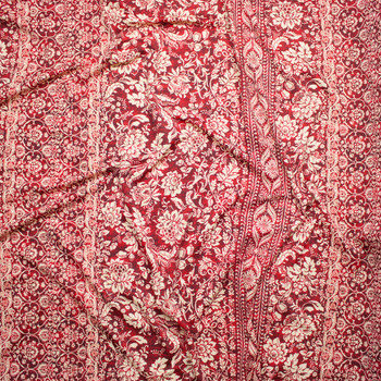 Tan and Wine Ornate Stripe Spandex Print Fabric By The Yard - Wide shot