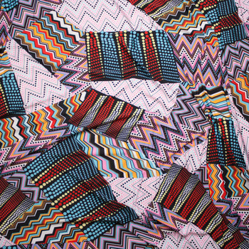 Pink and Light Blue Mixed Pattern Patchwork Stretch ITY Fabric By The Yard - Wide shot