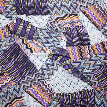 Purple and Yellow Mixed Pattern Patchwork Stretch ITY Fabric By The Yard - Wide shot