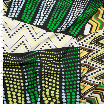 Green and Yellow Mixed Pattern Patchwork Stretch ITY Fabric By The Yard