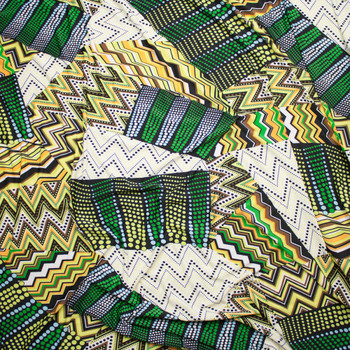 Green and Yellow Mixed Pattern Patchwork Stretch ITY Fabric By The Yard - Wide shot