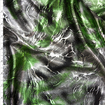 Silver and Lime Metallic Grunge Lightning Stretch Poly Knit Fabric By The Yard