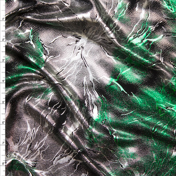 Silver and Emerald Metallic Grunge Lightning Stretch Poly Knit Fabric By The Yard