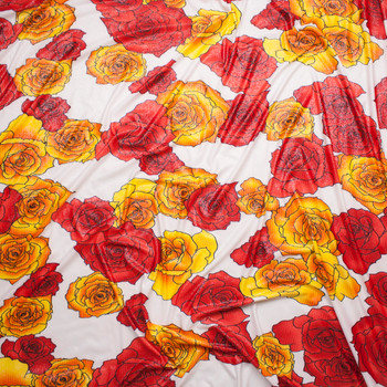 Red and Yellow Pop Art Roses on Offwhite Silver Dusted ITY Fabric By The Yard - Wide shot