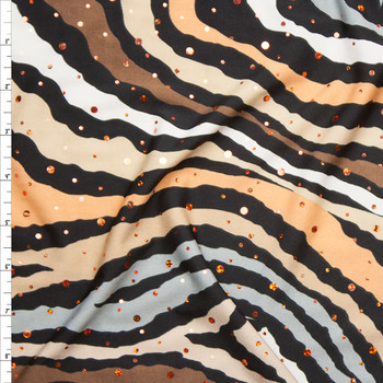 Sequined Brown and Tan Zebra Print Stretch Poly Jersey Knit Fabric By The Yard