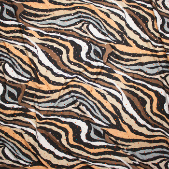 Sequined Brown and Tan Zebra Print Stretch Poly Jersey Knit Fabric By The Yard - Wide shot