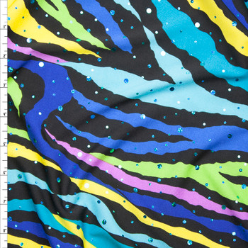 Sequined Blue, Purple, and Yellow Zebra Print Stretch Poly Jersey Knit Fabric By The Yard
