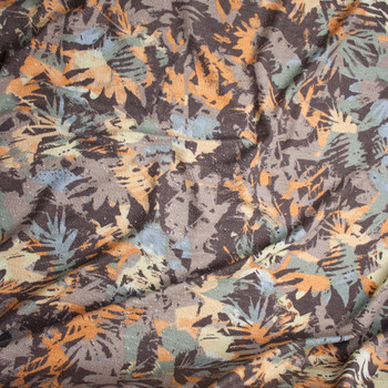 Tan, Orange, and Blue Grunge Island Abstract Slubbed French Terry from 'Sol Angeles' Fabric By The Yard - Wide shot