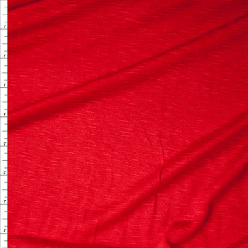 Bright Red Slubbed Rayon Jersey Knit Fabric By The Yard