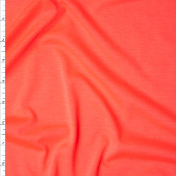 Neon Coral Lightweight Poly/Rayon Jersey Knit Fabric By The Yard