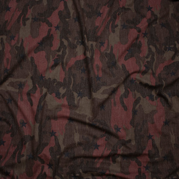 Burgundy and Brown Camouflage with Black Stars Loop Printed French Terry Fabric By The Yard - Wide shot