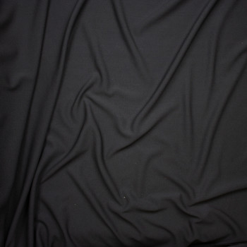Solid Black Braided Texture Liverpool Knit Fabric By The Yard - Wide shot