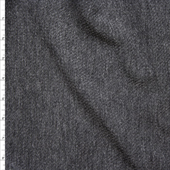 Heather Charcoal Grey Textured Stretch Double Knit Fabric By The Yard